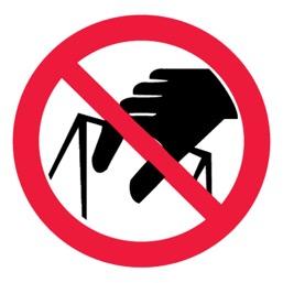Знак P33 Запрещается брать руками. Сыпучая масса (непрочная упаковка) •ГОСТ 12.4.026-2015• (Пленка 200 х 200)