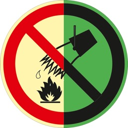 Знак P04 Запрещается тушить водой (Фотолюминесцентный Пластик 200 x 200) Т2