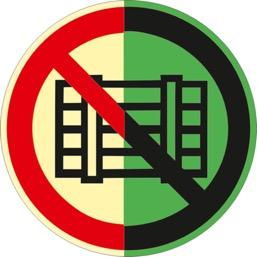 Знак P12 Запрещается загромождать проходы и/или складировать (Фотолюминесцентный Пластик 200 x 200) Т2