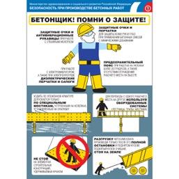 """Плакат """"Безопасность при производстве бетонных работ"""" - к-т из 3 л."""