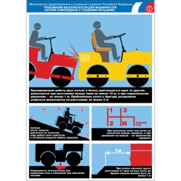 """Плакат """"Требования безопасности для машинистов катков самоходных с гладкими вальцами"""" - 1 л."""