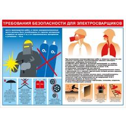 """Плакат """"Требования безопасности для электросварщиков"""" - 1 л."""