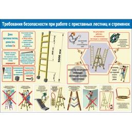"""Плакат """"Требования безопасности при работе с приставных лестниц и стремянок"""" - 1 л."""