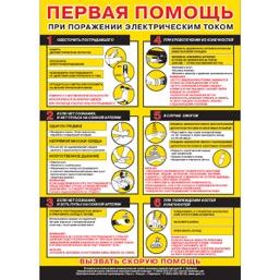 """Плакат """"Первая помощь при поражении электрическим током"""" -  1 л."""