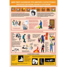 """Плакат """"Действия населения при авариях и катастрофах"""" - к-т из 3 л."""