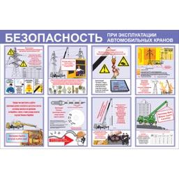 """Стенд """"Безопасность при эксплуатации автомобильных кранов СТ0341 (Пластик 1000 x 1500)"""""""