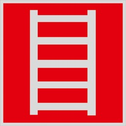 Знак F03 Пожарная лестница •ГОСТ 12.4.026-2015• (Световозвращающий Пленка 200 x 200)