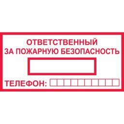 Знак T09 Ответственный за пожарную безопасность (Пластик 100 х 200)