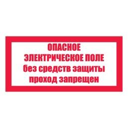 Знак T23 Опасное электрическое поле. Без средств защиты проход запрещен •СО 153-34.03.603-2003• (Пластик 100 х 200)