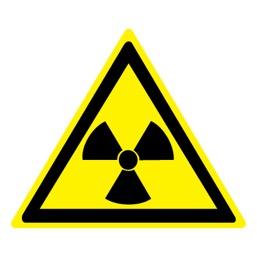 Знак W05 Опасно! Радиоактивные вещества или ионизирующее излучение •ГОСТ 12.4.026-2015• (Пленка 200 х 200)