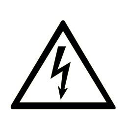 Знак W08 Опасность поражения электрическим током •ГОСТ 12.4.026-2015• (Пластик 300 X 300) белый фон