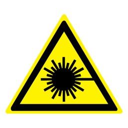 Знак W10 Опасно! Лазерное излучение •ГОСТ 12.4.026-2015• (Пластик 200 х 200)