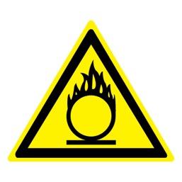 Знак W11 Пожароопасно! Окислитель •ГОСТ 12.4.026-2015• (Пластик 200 х 200)
