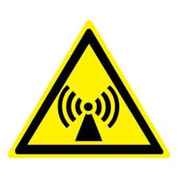 Знак W12 Внимание! Электромагнитное поле •ГОСТ 12.4.026-2015• (Пластик 200 х 200)
