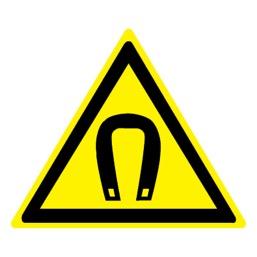 Знак W13 Внимание! Магнитное поле •ГОСТ 12.4.026-2015• (Пленка 200 х 200)