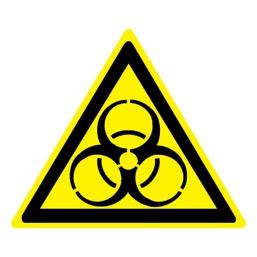 Знак W16 Осторожно! Биологическая опасность (Инфекционные вещества) •ГОСТ 12.4.026-2015• (Пленка 200 х 200)