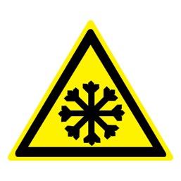 Знак W17 Осторожно! Холод •ГОСТ 12.4.026-2015• (Пленка 200 х 200)