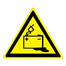 Знак W20 Осторожно! Аккумуляторные батареи •ГОСТ 12.4.026-2015• (Пленка 200 х 200)