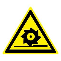 Знак W22 Осторожно! Режущие валы •ГОСТ 12.4.026-2015• (Пленка 200 х 200)