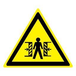 Знак W23 Внимание! Опасность зажима •ГОСТ 12.4.026-2015• (Пластик 200 х 200)