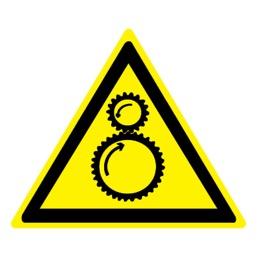 Знак W29 Осторожно! Возможно затягивание между вращающимися элементами •ГОСТ 12.4.026-2015• (Пленка 200 х 200)