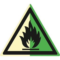 Знак W01 Пожароопасно! Легковоспламеняющиеся вещества (Фотолюминесцентный Пластик 200 x 200) Т2