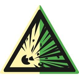 Знак W02 Взрывоопасно (Фотолюминесцентный Пластик 200 x 200) Т2