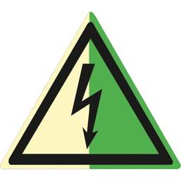Знак W08 Опасность поражения электрическим током (Фотолюминесцентный Пластик 200 x 200) Т2